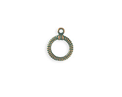Vintaj Copper Verdigris (plated) Ribbed Toggle Ring 14x17mm