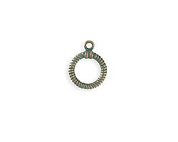 Vintaj Copper Verdigris (plated) Ribbed Toggle Ring 14x17mm