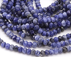 Sodalite Faceted Rondelle 4-4.5mm