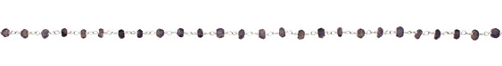 Iolite Faceted Rondelle Silver (plated) Bead Chain