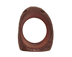 Tagua Nut Dark Brown Open Slice (side drilled) 33-45x24-36mm
