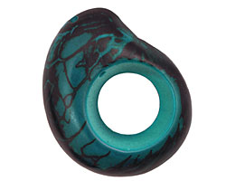 Tagua Nut Turquoise Open Slice 33-45x24-36mm