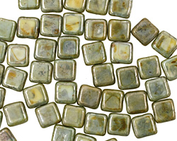 Czech Glass Luster Opaque Green Square 6mm
