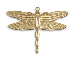Vintaj Vogue Patterned Wings Dragonfly Charm 36x27.5mm