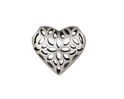 Antique Silver (plated) Filigree Puff Heart Focal 20x18mm
