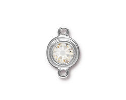 TierraCast Rhodium (plated) Stepped Bezel Link w/ Crystal 12x17mm