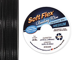 "Soft Flex Black Onyx .019"" (Medium) 49 Strand Wire 10ft."