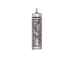 Zola Elements Antique Silver (plated) Scrolled Cylinder Focal 8x33mm