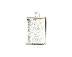 Nunn Design Sterling Silver (plated) Mini Rectangle Frame Charm 18x12mm