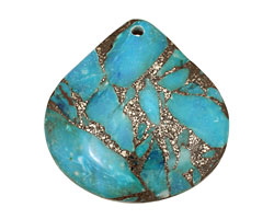 Blue Agate & Pyrite Teardrop Pendant 40mm
