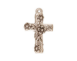 TierraCast Antique Silver (plated) Floral Cross Charm 17x27mm