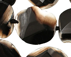 Black Agate Natural Edge Freeform Faceted Slab 30-33x24-30mm