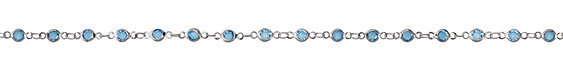 Zola Elements Aqua Crystals Round Link Imitation Rhodium (plated) Chain
