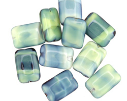 Czech Glass Calypso Green Rectangle 12x8mm