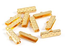 Gold (plated) Basket Weave Ribbon Crimp End 20mm