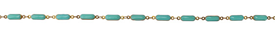 Zola Elements Turquoise Oblong Bar Brass Chain