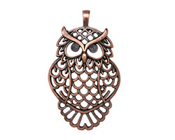 Greek Bronze (plated) Filigree Owl Pendant 41x68mm