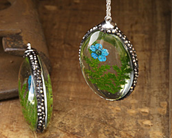 Glass Orb Oval w/ Fern & Turquoise Flower and Pave Crystals 25x50mm