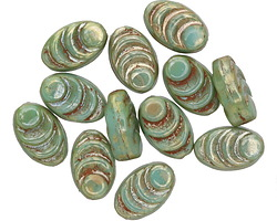 Czech Glass Green Turquoise Picasso Cocoon 8x13mm