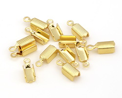 Gold (plated) Textured Fold Over Cord End 13x5mm