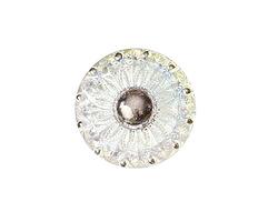 Czech Glass Iridescent Crystal & Silver Daisy Button 18mm