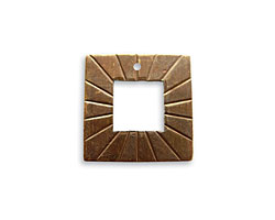 Vintaj Natural Brass Etched Square Toggle Ring 18mm