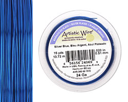 Artistic Wire Silver Plated Silver Blue 24 gauge, 15 yards