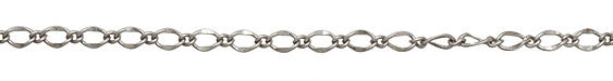 Antique Silver (plated) Long & Short Half Flat Curb Chain