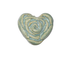 Gaea Ceramic Out of the Blue on Buff La Vie En Rose Heart 20-21x22-23mm