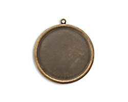 Vintaj Natural Brass Circle Bezel Pendant 32mm