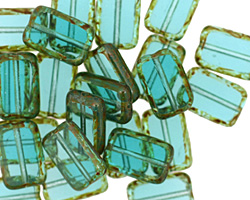 Czech Glass Teal Picasso Rectangle 12x8mm