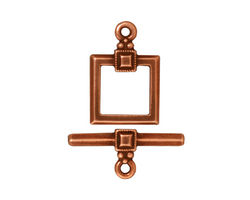 TierraCast Antique Copper (plated) Deco Square Toggle Clasp 18x12mm, 21 Bar