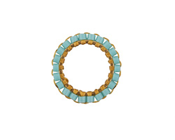 Aqua Miyuki Delicas Woven on Gold (plated) Stainless Steel Ring 15mm