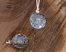 Glass Orb w/ Denim Blue Flower and Pave Crystals 22mm