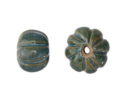 Gaea Ceramic Peacock on Tan Lantern 9x15-16mm