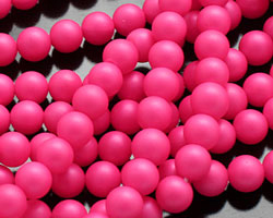 Neon Pink Shell Pearl Round 6mm