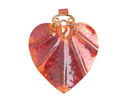 Patricia Healey Copper Radiant Folk Heart Pendant 50x61mm