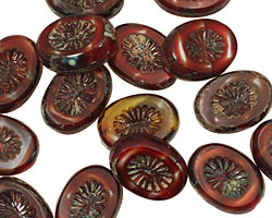 Czech Glass Pomegranate Oval w/ Star Window 14x10mm