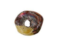 Greek Ceramic Raku Metallic Harvest Nugget Spacer (large hole) 18-20mm
