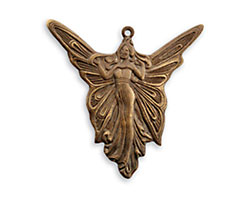Vintaj Natural Brass Art Deco Angel Pendant 30mm
