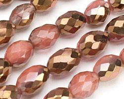 Metallic Gold Cherry Quartz Faceted Rice 14x10mm