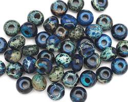 Midnight Blue Impression Jasper Rondelle (Large Hole) 5x8mm