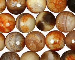 Amber Fire Agate Faceted Round 12mm