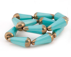 Czech Glass Bronzed Turquoise Faceted Teardrop 20x8mm