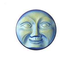 Czech Glass Matte Jet AB Moon Face Button 32mm