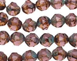 Czech Glass Amethyst Picasso Chandelier Cut 8mm