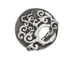 Saki Sterling Silver Vine Toggle Clasp 34mm, 33mm bar