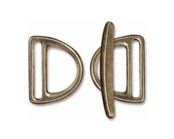 TierraCast Antique Brass (plated) 20mm Slotted D Ring Clasp Set 19x24mm, 34mm bar