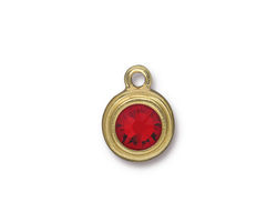 TierraCast Gold (plated) Stepped Bezel Drop w/ Light Siam Ruby Crystal 12x17mm