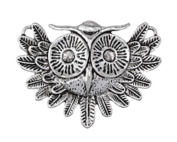 Zola Elements Antique Silver (plated) Vintage Owl Focal 55x40mm